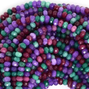 "Shop Jade Rondelle Beads! 3mm faceted multicolor jade rondelle beads 14.5"" strand 35478 