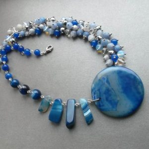 Shop Agate Necklaces! statement chunky necklace blue light blue agate asymmetric unique unusual necklace something special for her for women blue light blue gift | Natural genuine Agate necklaces. Buy crystal jewelry, handmade handcrafted artisan jewelry for women.  Unique handmade gift ideas. #jewelry #beadednecklaces #beadedjewelry #gift #shopping #handmadejewelry #fashion #style #product #necklaces #affiliate #ad