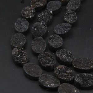 13x18MM Natural Druzy Agate Oval Beads,Sparkling Black Druzy Beads,Good Quality Druzy Beads.Full 8 Inch One Strand/11PCS. | Natural genuine beads Gemstone beads for beading and jewelry making.  #jewelry #beads #beadedjewelry #diyjewelry #jewelrymaking #beadstore #beading #affiliate #ad