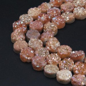 12MM Natural Druzy Agate Round Beads,Good Quality Orange Druzy Quartz Beads,Full 8 Inch One Strand/17PCS, Cabochon Sparkling Druzy Beads. | Natural genuine beads Gemstone beads for beading and jewelry making.  #jewelry #beads #beadedjewelry #diyjewelry #jewelrymaking #beadstore #beading #affiliate #ad