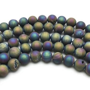 8mm Druzy Agate Beads, Geode Agate Beads, Round Gemstone Beads, Wholesale Beads | Natural genuine beads Gemstone beads for beading and jewelry making.  #jewelry #beads #beadedjewelry #diyjewelry #jewelrymaking #beadstore #beading #affiliate #ad