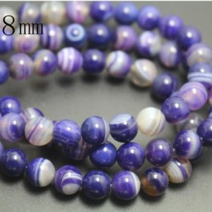 8mm Natural Purple Madagasar Agate Beads,Natural Purple Striped Agate Smooth and Round Beads,15 inches one starand | Natural genuine beads Gemstone beads for beading and jewelry making.  #jewelry #beads #beadedjewelry #diyjewelry #jewelrymaking #beadstore #beading #affiliate #ad