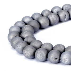 "Silver Druzy Agate Matte Round Beads 6mm 8mm 10mm 20mm 15.5"" Strand 