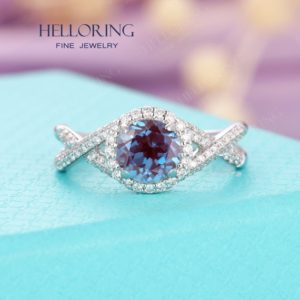 Shop Alexandrite Rings! Alexandrite engagement ring white gold ,Vintage halo diamond/moissanite wedding ring,Anniversary s for her, Half eternity Prong set | Natural genuine Alexandrite rings, simple unique alternative gemstone engagement rings. #rings #jewelry #bridal #wedding #jewelryaccessories #engagementrings #weddingideas #affiliate #ad