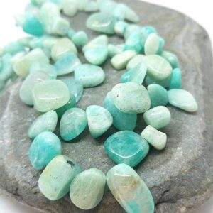 Shop Amazonite Chip & Nugget Beads! Natural Amazonite Nugget Beads 15 x 8 mm approx / Lovely soft Birds Egg Blue / Amazonite Gemstone Beads Set of 4 beads | Natural genuine chip Amazonite beads for beading and jewelry making.  #jewelry #beads #beadedjewelry #diyjewelry #jewelrymaking #beadstore #beading #affiliate #ad