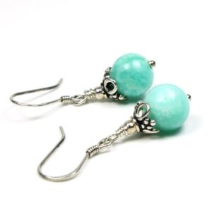 Shop Amazonite Earrings! Amazonite Sterling Silver Earrings natural green gemstone small classic boho everyday dainty dangle drops gift for her women mom wife 4409 | Natural genuine Amazonite earrings. Buy crystal jewelry, handmade handcrafted artisan jewelry for women.  Unique handmade gift ideas. #jewelry #beadedearrings #beadedjewelry #gift #shopping #handmadejewelry #fashion #style #product #earrings #affiliate #ad