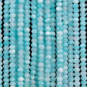 Shop Amazonite Faceted Beads! 212 Pcs – 3x2MM Genuine Natural Amazonite Beads Grade AAA Faceted Rondelle Gemstone Loose Beads (102722) | Natural genuine faceted Amazonite beads for beading and jewelry making.  #jewelry #beads #beadedjewelry #diyjewelry #jewelrymaking #beadstore #beading #affiliate #ad