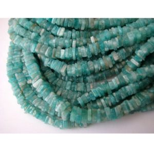 Shop Amazonite Bead Shapes! 4mm Natural Amazonite Square Heishi Beads, Amazonite For Necklace, Sea Blue Amazonite Dish Heishi Beads (8IN To 16IN Options) | Natural genuine other-shape Amazonite beads for beading and jewelry making.  #jewelry #beads #beadedjewelry #diyjewelry #jewelrymaking #beadstore #beading #affiliate #ad