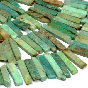 "Natural rare amazonite long slices,amazonite beads,gemstone beads,graduated beads,irregular beads,blue beads,sky blue beads – 16"" Strand 