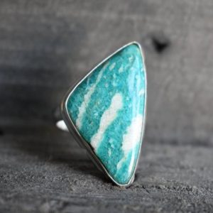 Shop Amazonite Rings! amazonite ring,925 silver ring,natural amazonite ring,green amazonite ring,amazonite gemstone ring,triangle shape ring | Natural genuine Amazonite rings, simple unique handcrafted gemstone rings. #rings #jewelry #shopping #gift #handmade #fashion #style #affiliate #ad
