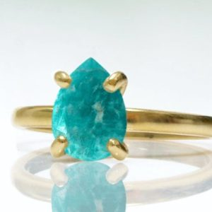 gold stacking ring,amazonite ring,gemstone ring,sky blue ring,teardrop rings,promise ring,bridal ring,gold ring | Natural genuine Amazonite rings, simple unique alternative gemstone engagement rings. #rings #jewelry #bridal #wedding #jewelryaccessories #engagementrings #weddingideas #affiliate #ad