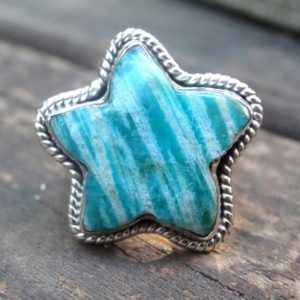 Shop Amazonite Rings! Star – Natural Amazonite Sterling Silver Star Rings, Amazonite 925 Silver Star Shaped Ring, Healing Stone Amazonite Star Gemstone Ring | Natural genuine Amazonite rings, simple unique handcrafted gemstone rings. #rings #jewelry #shopping #gift #handmade #fashion #style #affiliate #ad