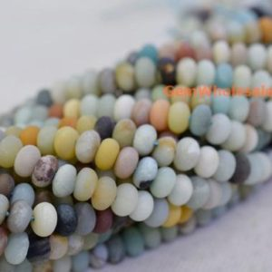 "15"" Matt finish Natural amazonite 5x8mm rondelle beads, semi-precious stone,multi color DIY beads, gemstone wholesaler, amazonite disc QGCO 