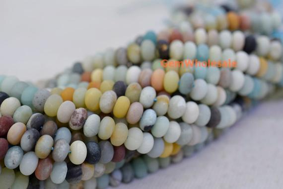 "15"" Matt Finish Natural Amazonite 5x8mm Rondelle Beads, Semi-precious Stone,multi Color Diy Beads, Gemstone Wholesaler, Amazonite Disc Qgco"