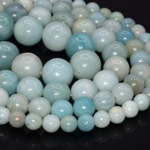 Shop Amazonite Round Beads! Genuine Natural Blue Amazonite Loose Beads Grade A Round Shape 6-7mm 8mm 10-11mm | Natural genuine round Amazonite beads for beading and jewelry making.  #jewelry #beads #beadedjewelry #diyjewelry #jewelrymaking #beadstore #beading #affiliate #ad