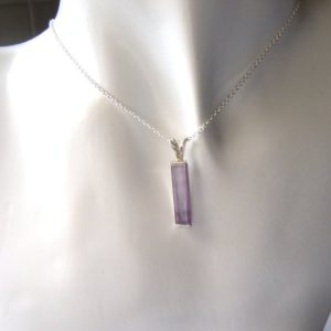 Handcrafted Amethyst Necklace, Purple Gemstone Pendant, Small Oblong Necklace, Sterling Silver, Rectangle Pendant, Lapidary Jewelry, UK Made | Natural genuine Array pendants. Buy crystal jewelry, handmade handcrafted artisan jewelry for women.  Unique handmade gift ideas. #jewelry #beadedpendants #beadedjewelry #gift #shopping #handmadejewelry #fashion #style #product #pendants #affiliate #ad