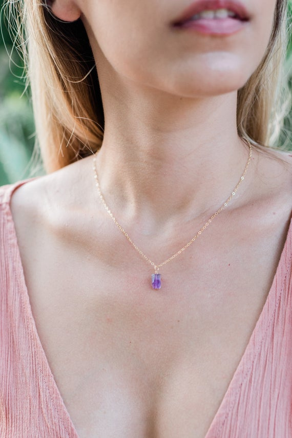 Tiny Raw Purple Amethyst Gemstone Pendant Necklace In Gold, Silver, Bronze Or Rose Gold - February Birthstone Necklace