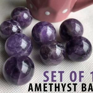 Shop Amethyst Shapes! Amethyst Crystal Ball Sphere Set Of 10 | Natural genuine stones & crystals in various shapes & sizes. Buy raw cut, tumbled, or polished gemstones for making jewelry or crystal healing energy vibration raising reiki stones. #crystals #gemstones #crystalhealing #crystalsandgemstones #energyhealing #affiliate #ad