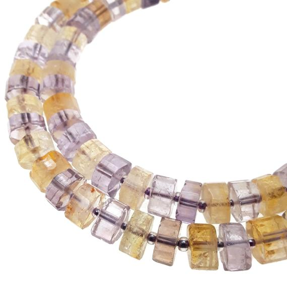 """Natural Ametrine Faceted Rondelle Wheel Disc Beads Approx 5x10mm 15.5"""" Strand"""