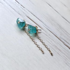 Shop Apatite Earrings! Apatite Earrings Apatite Chain Studs Apatite Jewelry Gemstone Earrings | Natural genuine Apatite earrings. Buy crystal jewelry, handmade handcrafted artisan jewelry for women.  Unique handmade gift ideas. #jewelry #beadedearrings #beadedjewelry #gift #shopping #handmadejewelry #fashion #style #product #earrings #affiliate #ad