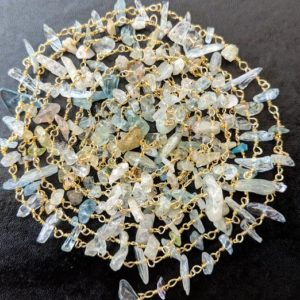 Shop Aquamarine Chip & Nugget Beads! 4-8mm Multi Aquamarine Wire Wrapped Chips, Aqua Rosary Style Beaded Chain, 925 Silver Gold Polish Aqua For Necklace (1ft To 5ft Options) | Natural genuine chip Aquamarine beads for beading and jewelry making.  #jewelry #beads #beadedjewelry #diyjewelry #jewelrymaking #beadstore #beading #affiliate #ad
