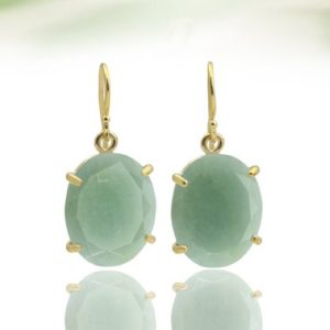 Gold Aquamarine earrings,March birthstone earrings,Oval earrings,bridal earrings,prong earrings,dangle earrings | Natural genuine Gemstone earrings. Buy handcrafted artisan wedding jewelry.  Unique handmade bridal jewelry gift ideas. #jewelry #beadedearrings #gift #crystaljewelry #shopping #handmadejewelry #wedding #bridal #earrings #affiliate #ad