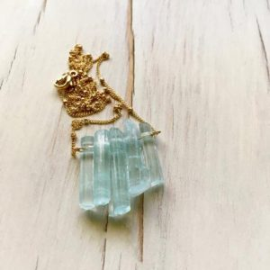 Shop Healing Gemstone & Crystal Pendants! Aquamarine Necklace Aquamarine Pendant Necklace Aquamarine Jewelry Gemstone Necklace | Natural genuine Gemstone pendants. Buy crystal jewelry, handmade handcrafted artisan jewelry for women.  Unique handmade gift ideas. #jewelry #beadedpendants #beadedjewelry #gift #shopping #handmadejewelry #fashion #style #product #pendants #affiliate #ad