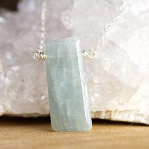 Shop Aquamarine Pendants! Silver Aquamarine Pendant Necklace  – Pisces Zodiac Necklace – March Birthstone Jewelry – Raw Crystal Necklace – Gift for Her | Natural genuine Aquamarine pendants. Buy crystal jewelry, handmade handcrafted artisan jewelry for women.  Unique handmade gift ideas. #jewelry #beadedpendants #beadedjewelry #gift #shopping #handmadejewelry #fashion #style #product #pendants #affiliate #ad