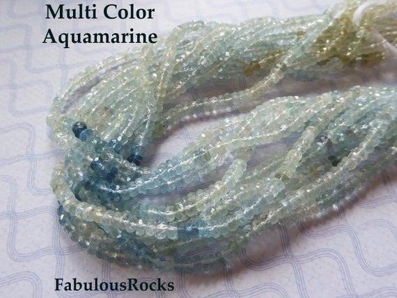 1/2 Strand, Natural Aquamarine Gemstone Beads Rondelles Roundels, March Birthstone Gem, 4 Mm Luxe Aaa, Wholesale Jewelry Supplie Solo Ar4