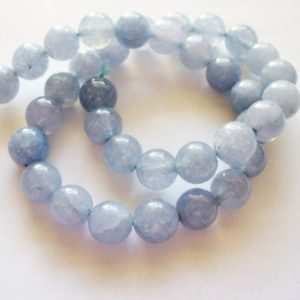 Shop Aquamarine Round Beads! Aquamarine Beads Gemstone  Blue/Gray Round 8MM | Natural genuine round Aquamarine beads for beading and jewelry making.  #jewelry #beads #beadedjewelry #diyjewelry #jewelrymaking #beadstore #beading #affiliate #ad