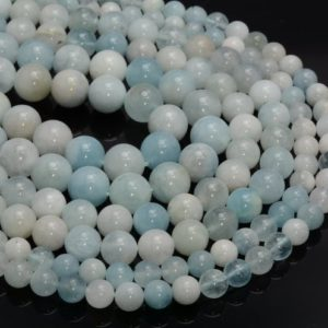 Shop Aquamarine Round Beads! Beryl Aquamarine Gemstone Round 6mm 8mm 10mm Loose Beads 15.5 Inch Full Strand (A253) | Natural genuine round Aquamarine beads for beading and jewelry making.  #jewelry #beads #beadedjewelry #diyjewelry #jewelrymaking #beadstore #beading #affiliate #ad