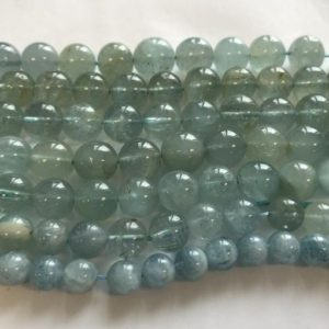 Shop Aquamarine Round Beads! Natural Aquamarine 10mm 11mm Round Gemstone Beads -7.5"
