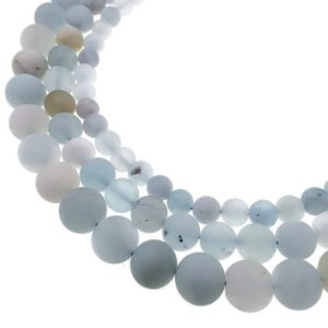 "Shop Aquamarine Round Beads! Natural Blue Aquamarine Matte Round Beads 6mm 8mm 10mm 15.5"" Strand 