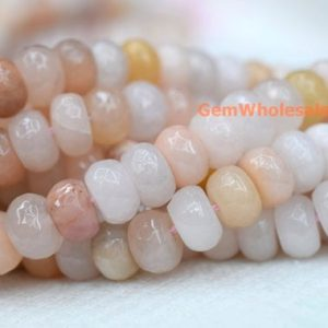 "15.5"" 8x12mm light pink aventurine roundel faceted beads,light pink gemstone, semi-precious stone, natural light yellow rondelle beads QGCO 