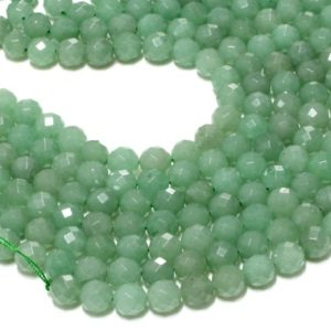 """Shop Aventurine Faceted Beads! Green aventurine round beads,faceted beads,wholesale beads,jewelry making beads,green stone beads,natural beads – 16"""" Full Strand 