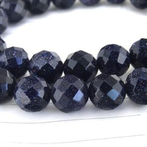 """Shop Aventurine Faceted Beads! One Full Strand — Charm faceted Blue Goldstone Blue Aventurine Gemstone Beads— 10mm —-about 39Pieces—- 15"""" in length 