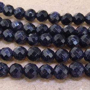 """Shop Aventurine Faceted Beads! One Full Strand — Sky faceted Blue Goldstone Blue Aventurine Gemstone Beads— 8mm —-about 49 Pieces—- 15"""" in length 