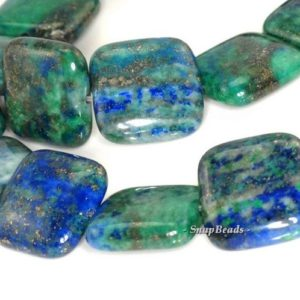 Shop Azurite Bead Shapes! 16mm Azurite Gemstone Blue Green Square 16x16mm Loose Beads 8 inch Half Strand (90111892-131) | Natural genuine other-shape Azurite beads for beading and jewelry making.  #jewelry #beads #beadedjewelry #diyjewelry #jewelrymaking #beadstore #beading #affiliate #ad