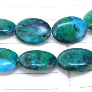 """Shop Azurite Bead Shapes! One Full Strand — Oval Green Malachite Azurite Beads —– 12mmx16mm —– about 25Pieces —– gemstone beads— 15.5"""" in length 