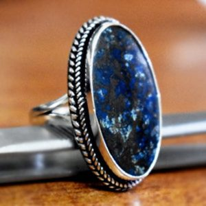 Shop Azurite Rings! Natural Azurite Gemstone Ring,Solid 925 Sterling Silver Designer Ring,Azurite Ring,Handmade Jewelry,NAtural Birthstone Ring,Women's Gift | Natural genuine Azurite rings, simple unique handcrafted gemstone rings. #rings #jewelry #shopping #gift #handmade #fashion #style #affiliate #ad