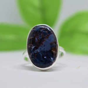 Shop Pietersite Rings! Beautiful Pietersite Ring, 925 Sterling Silver Ring, Simple Band Ring, Oval Pietersite Gemstone Ring, Christmas Gift, Can Be Personalized | Natural genuine Pietersite rings, simple unique handcrafted gemstone rings. #rings #jewelry #shopping #gift #handmade #fashion #style #affiliate #ad