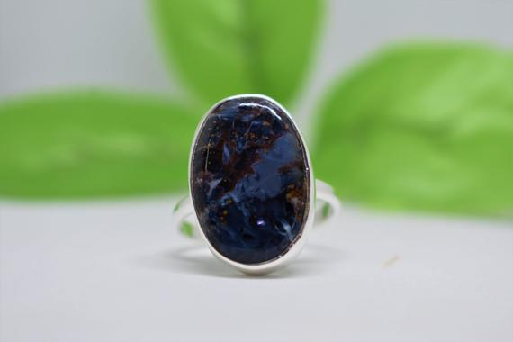 Beautiful Pietersite Ring, 925 Sterling Silver Ring, Simple Band Ring, Oval Pietersite Gemstone Ring, Christmas Gift, Can Be Personalized