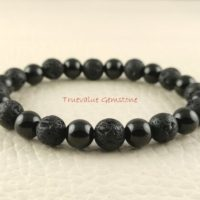 Black Tourmaline And Black Lava Bracelet, Healing For Men & Women, Tolerance, Understanding, Courage, Stability, Gift For Men And Women 3793 | Natural genuine Gemstone jewelry. Buy handcrafted artisan men's jewelry, gifts for men.  Unique handmade mens fashion accessories. #jewelry #beadedjewelry #beadedjewelry #shopping #gift #handmadejewelry #jewelry #affiliate #ad