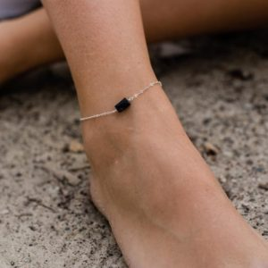 "Raw black tourmaline crystal nugget anklet bracelet in gold, silver, bronze or rose gold – 8"" chain with 2"" adjustable extender 