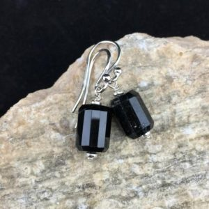 Shop Black Tourmaline Earrings! Black Tourmaline Faceted Barrel Shape and Sterling Silver Dangle Earrings (E-1) | Natural genuine Black Tourmaline earrings. Buy crystal jewelry, handmade handcrafted artisan jewelry for women.  Unique handmade gift ideas. #jewelry #beadedearrings #beadedjewelry #gift #shopping #handmadejewelry #fashion #style #product #earrings #affiliate #ad