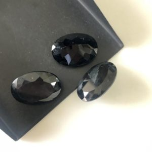 Shop Black Tourmaline Beads! 2 Pieces Huge 22x16mm Oval Shaped Faceted Black Tourmaline Loose Gemstones, Natural Black Tourmaline Gemstones For Jewelry, GDS1924/1 | Natural genuine faceted Black Tourmaline beads for beading and jewelry making.  #jewelry #beads #beadedjewelry #diyjewelry #jewelrymaking #beadstore #beading #affiliate #ad