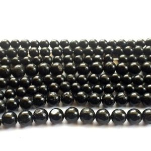 Shop Black Tourmaline Beads! 8mm Black Tourmaline Plain Round Beads, Black Tourmaline Smooth Ball Rondelles, 13 Inch Black Tourmaline For Jewelry – VICS109 | Natural genuine rondelle Black Tourmaline beads for beading and jewelry making.  #jewelry #beads #beadedjewelry #diyjewelry #jewelrymaking #beadstore #beading #affiliate #ad