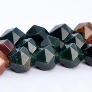 Shop Bloodstone Beads! Dark Green Blood Stone Beads Star Cut Faceted Grade AAA Genuine Natural GemStone Loose Beads 5-6MM 7-8MM 9-10MM Bulk Lot Options | Natural genuine faceted Bloodstone beads for beading and jewelry making.  #jewelry #beads #beadedjewelry #diyjewelry #jewelrymaking #beadstore #beading #affiliate #ad