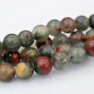 """Shop Bloodstone Beads! 15.5"""" 6mm/8mm/10mm/12mm African bloodstone jasper round beads, semi-precious stone, African blood stone 