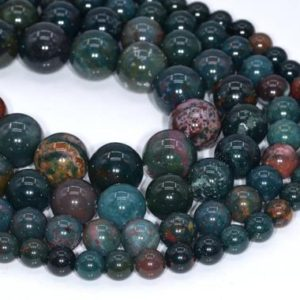 Shop Bloodstone Beads! Genuine Natural Dark Green Blood Stone Loose Beads Round Shape 6mm 8mm 10mm | Natural genuine round Bloodstone beads for beading and jewelry making.  #jewelry #beads #beadedjewelry #diyjewelry #jewelrymaking #beadstore #beading #affiliate #ad